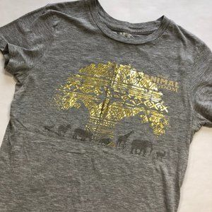 DISNEY Animal Kingdom Gray & Gold Tee S EUC